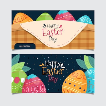 Hand drawn easter day banners set