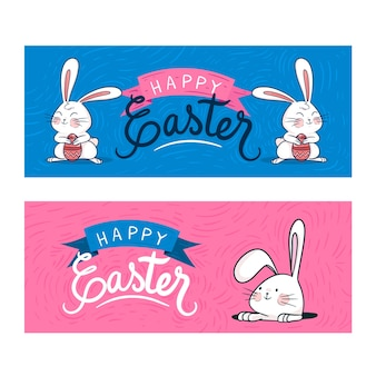 Hand-drawn easter day banners