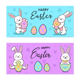 Hand drawn easter day banners