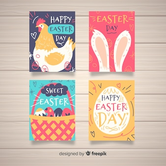 Hand drawn easter day card collection
