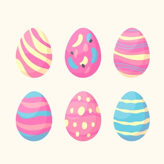 Hand-drawn easter day egg collection design