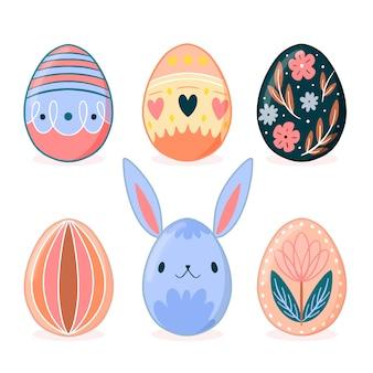 Disegno disegnato a mano della raccolta dell'uovo di pasqua