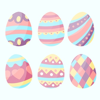 Hand-drawn easter day egg collection theme