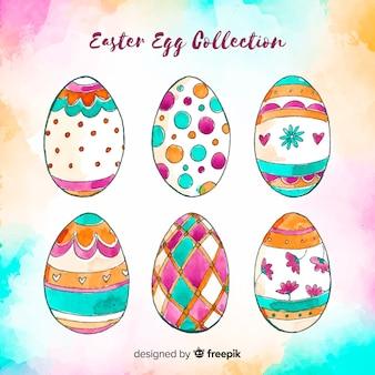 손으로 그린 부활절 날 달걀 컬렉션