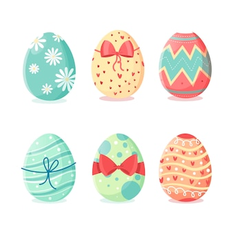 Hand-drawn easter day egg collection