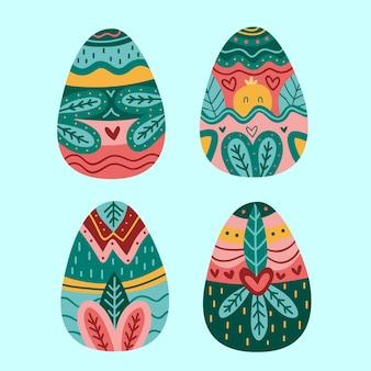 Raccolta disegnata a mano dell'uovo di giorno di pasqua