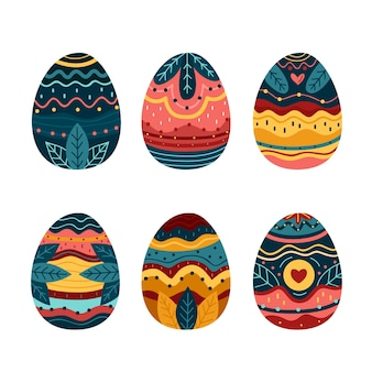 Hand drawn easter day egg pack