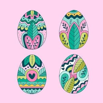 Hand drawn easter day egg set