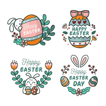 Hand-drawn easter day label collection concept