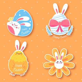 Hand-drawn easter day label collection