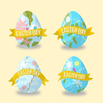 Hand drawn easter day label collection