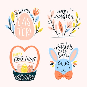 Hand drawn easter day label pack
