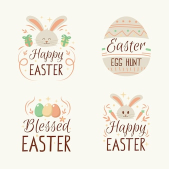 Hand drawn easter day label set