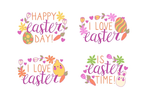 Hand drawn easter day lettering badge with eggs