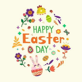 Hand drawn easter day lettering with elements