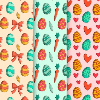 Hand-drawn easter day pattern collection concept