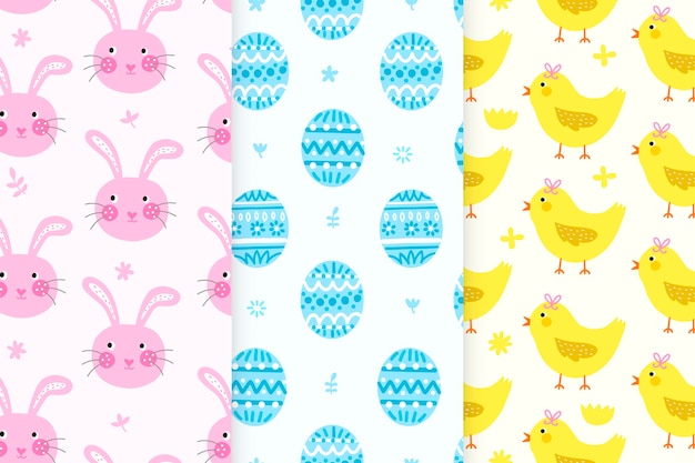 Hand-drawn easter day pattern collection theme