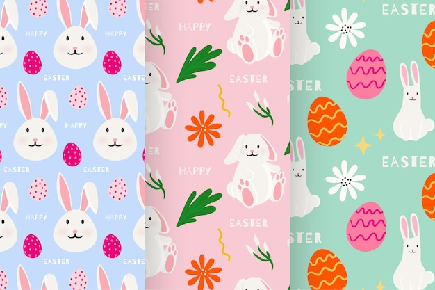 Hand-drawn easter day pattern collection