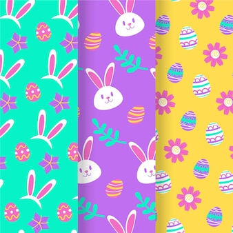 Hand drawn easter day pattern collection
