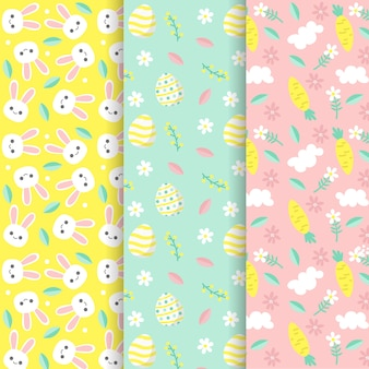 Hand drawn easter day pattern pack
