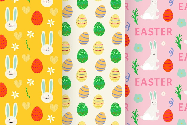 Hand-drawn easter day pattern set