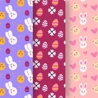Hand drawn easter day pattern set
