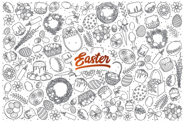 Hand drawn easter doodle set background with red lettering