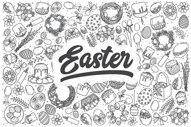 Hand drawn easter doodle set. lettering - easter