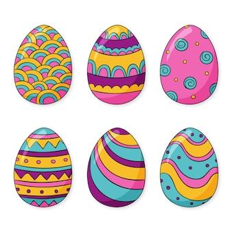 Collezione di uova di pasqua disegnate a mano