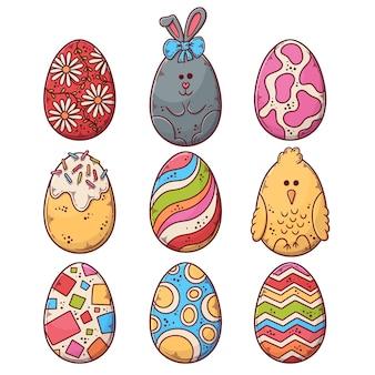 손으로 그린 부활절 달걀 컬렉션