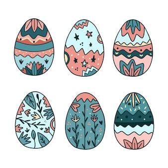 손으로 그린 부활절 달걀 컬렉션 프리미엄 벡터