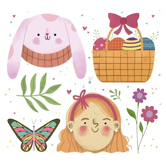 Hand drawn easter element collection
