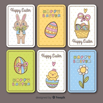 Hand drawn easter elements card collection