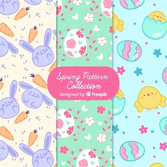 Hand drawn easter elements patterns