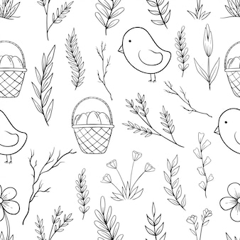 Hand drawn easter icons in seamless pattern