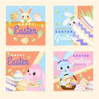Hand drawn easter instagram posts collection