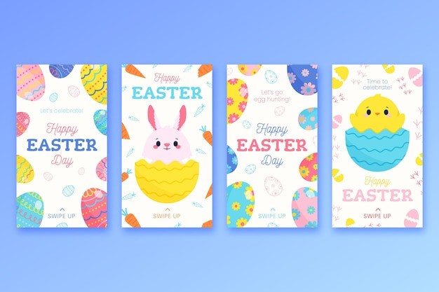 Hand drawn easter instagram stories collection