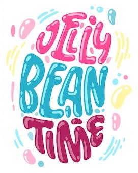 Hand drawn easter jelly bean shape lettering for postcard design.