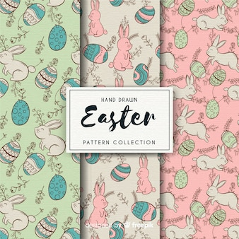 Hand drawn easter pattern collection
