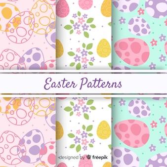 Hand drawn easter pattern set