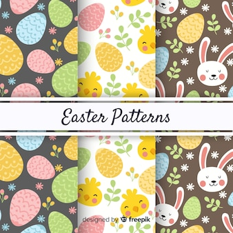 Hand drawn easter pattern set