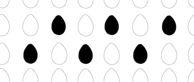 Hand drawn easter pattern with eggs. doodle vector illustration in cute style. element for greeting cards, posters, stickers and seasonal design. isolated on white background