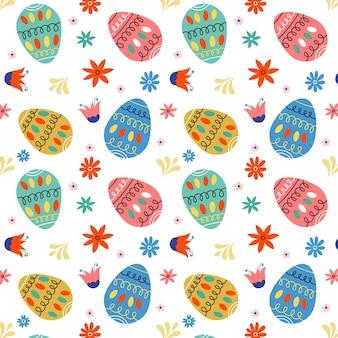 손으로 그린 된 부활절 패턴