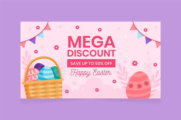 Hand drawn easter sale banner