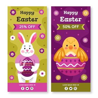 Hand drawn easter sale vertical banner collection
