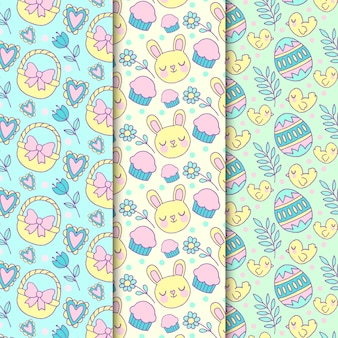 Hand drawn easter seamless pattern with bunnies and chickens
