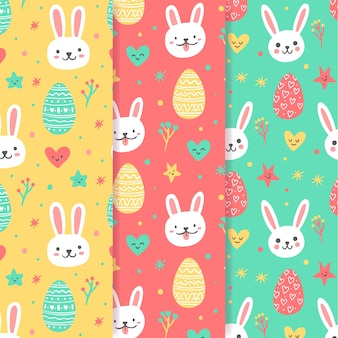 Hand drawn easter seamless pattern with bunny avatars