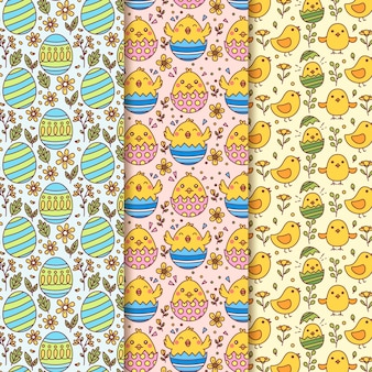 Hand drawn easter seamless pattern with eggs and chickens