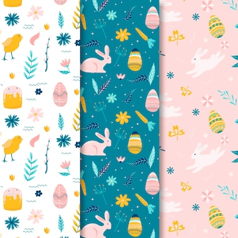 Hand drawn easter seamless pattern with eggs and flowers