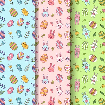 Hand drawn easter seamless pattern with eggs and rabbits